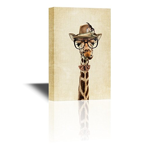 wall26 Mr Animal Series Canvas Wall Art - Mr Giraffe Wearing a Hat and a Tie - Gallery Wrap Modern Home Decor | Ready to Hang - 16x24 inches