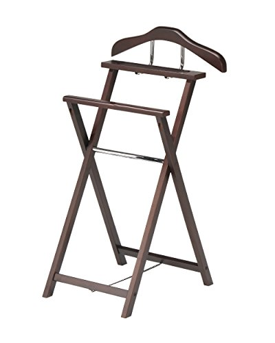 - King's Brand Walnut Finish Solid Wood Suit Valet Rack Stand Organizer