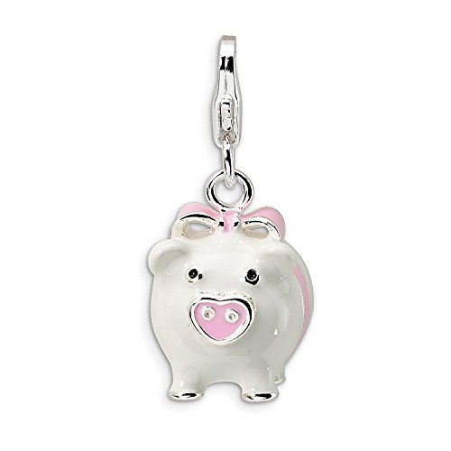 925 Sterling Silver Rh 3 D Enameled Pig Lobster Clasp Pendant Charm Necklace Animal Fine Jewelry Gifts For Women For Her