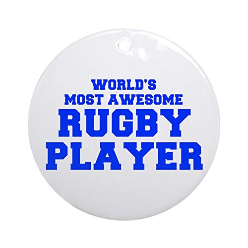 (CafePress World's Most Awesome Rugby Player Fre Blue 400 ORN Round Holiday Christmas Ornament )