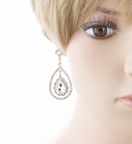 Bridal Wedding Jewelry Crystal Rhinestone Dazzle Elegant Dangle Drop Earrings SV by Accessoriesforever (Image #2)
