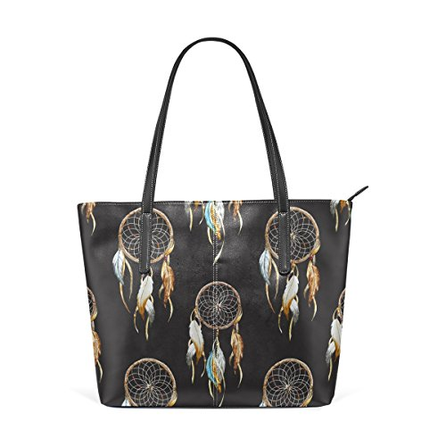 COOSUN Dreamcatcher PU de cuero bolso monedero y bolsos de la bolsa de asas para las mujeres Medio multicolor
