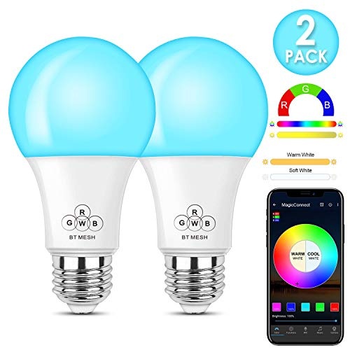 MagicConnect Bluetooth with Mesh Technology Multicolor Light Bulb, No Hub Required (Hub Required to Enable Remotely Google Alexa Voice Control, Hub Sold Separately) - Formerly HaoDeng - 2 Pack