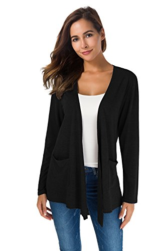 (XINAO Women's Open Front Casual Comfy Flowy Long Line Modal Cardigan (s, Black))
