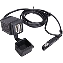mictuning SAE A 2.1A Dual Port Power Socket Adaptador de cable USB para motocicleta para teléfono inteligente Tablet GPS
