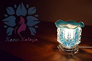 aew Kalaya - Luxury Aromatherapy Oils Lamp Electric Fragrance Oil Warmer, Essential Oil Burner with 35 Watt Halogen Bulb and Touch Dimmer Switch for Room Decoration and Relaxation Blue the Cube 1 Pcs