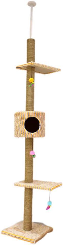 OKMIJN áRbol Rascador para Gatos De 210 Cm-280 Cm, Rascador De Suelo A Techo para Gatos, Poste Escalador De Sisal Natural, áRbol para Gatos Extensible, Arbol Rascador De Actividades, Color Beige: Amazon.es: