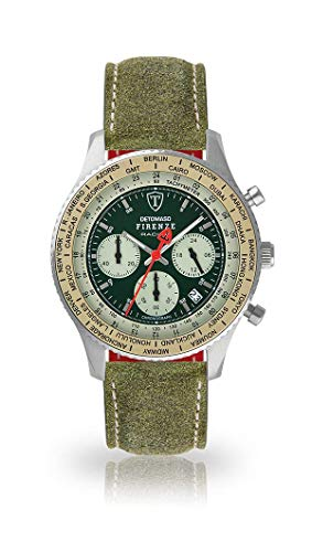DETOMASO Firenze Mens Watch Chronograph Analogue Quartz Dark Green Leather Strap Green dial DT1069-B-801