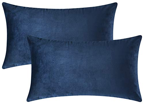 (Mixhug Set of 2 Cozy Velvet Rectangle Decorative Throw Pillow Covers for Couch and Bed, Navy Blue, 12 x 20 Inches)