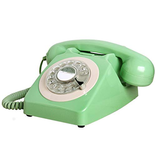 Gray Cordless Telephone - ZHAS Vintage Classic Turntable Telephone Rotating Retro Red Black Gray Green Double Ring Home Office Hotel Fixed Landline Metal Bell (Color : Green)