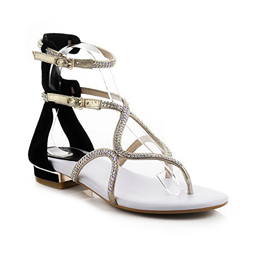 1TO9 Womens Double Breasted Glass Diamond Sequins Cow Leather Sandals Black