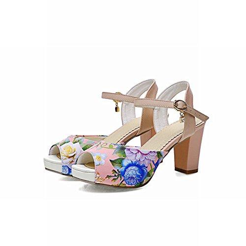 Carolbar Chic Kvinna Blommönster Peep Toe Hängande Elegans Plattform Chunky Högklackade Sandaler Rosa