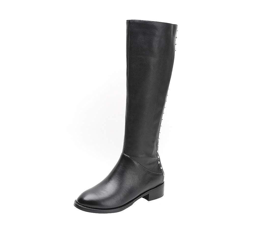 Black MAYPIE Womens Toaim  Leather Zipper Knee-High Boots