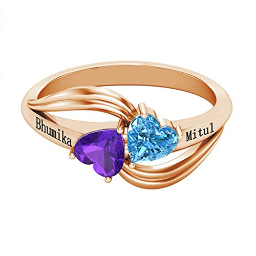 One Of A Kind Costume Jewelry Wholesale (Personalized Simulated Birthstone Rings For Couple Custom Engraved Names Promise Lover Rings For Women (rose-gold-plated-base 9))