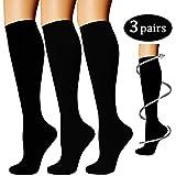 Compression Socks 3 Pairs For Women & Men-Best Compression Stockings For Running, Medical, Athletic, Edema, Diabetic, Varicose Veins, Travel, Pregnancy,Nursing - 15-20mmHg (S/M, BLACK)