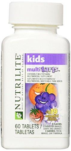 NUTRILITE® Kids MultiTarts Chewable Multivitamin/Multimineral 60 tablets,3 Flavors: Strawberry-Mango,Grape and Orange
