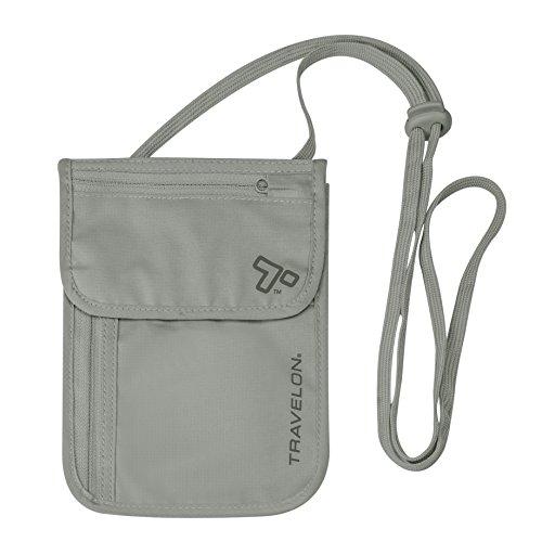 41x0qupbFlL - Travelon RFID Blocking Undergarment Neck Pouch, Gray