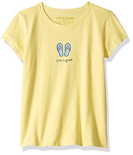 Life is Good Girls Vintage Crusher Tee Flip Flops, Happy Yellow, ()
