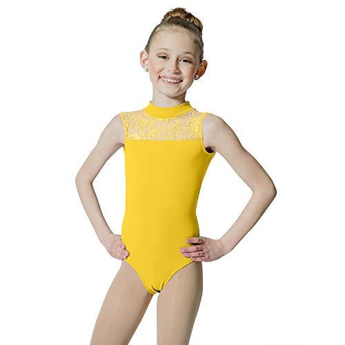 HDW DANCE Kids Girls Ballet Dance Leotard Lace Turtle Neck Open Back Cotton … (Medium, Yellow)