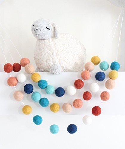 Southwestern Sky Handmade Felt Ball Garland by Sheep Farm Felt- Terracotta, Coral, Peach, Musard, Marine, Aqua, Navy, White Pom Pom Garland. 2.5 cm …