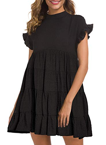 MIHOLL Womens Casual Dresses Ruffle Tiered Flowy Loose Swing Mini Dress (Small, Black)