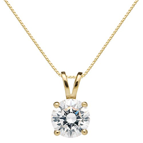 14K Solid Yellow Gold Pendant Necklace | Round Cut Cubic Zirconia Solitaire | 2.0 Carat | 18 Inch .60mm Box Link Chain | With Gift Box ()