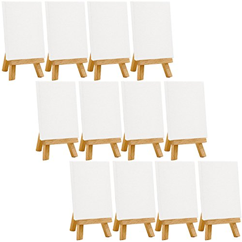 US Art Supply Artists 3''x4'' Mini Canvas & Easel Set Painting Craft Drawing - Set Contains: 12 Mini Canvases & 12 Mini Easels by US Art Supply
