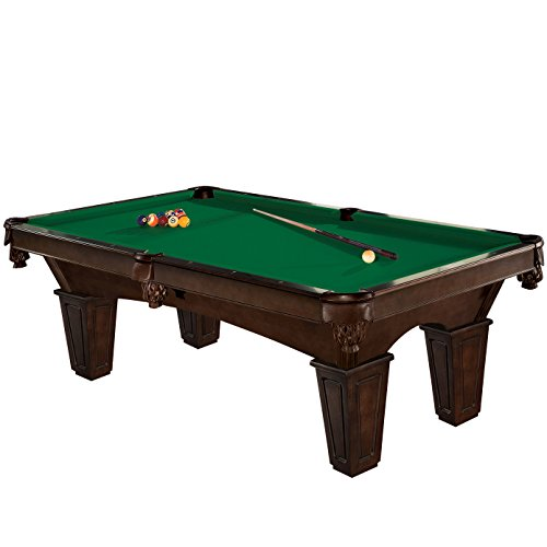 Merlot Legs Merlot Finish - Brunswick 8 Foot Glen Oaks Pool Table with Green Contender Cloth and Play Kit: Billiard Ball Set, Cues, and Accessories.