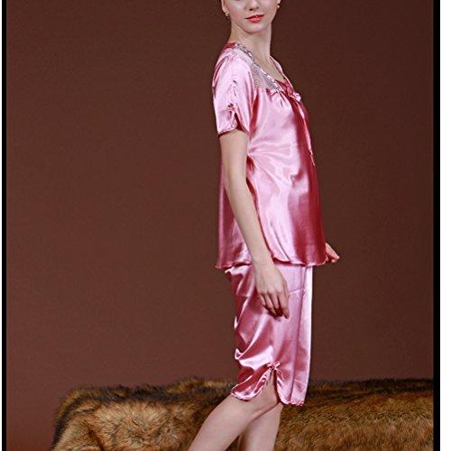 Zhhlinyuan 2PCS Fashion Women's Summer Lingerie Nightwear Set Comfortable Sleepwear Coral Red