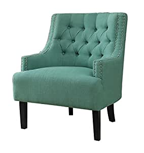 Homelegance Charisma Accent Chair with Button Tufted Backrest and Nail Head Accented Track Arm, Teal