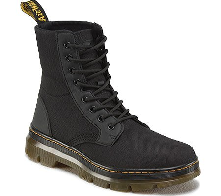 Dr. Martens Men's Combs Nylon Combat Boot, black, 8 UK/9 M US