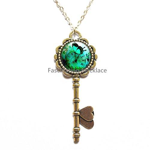 Blue Butterfly Key Pendant Steampunk Clock Key Necklace Steampunk Butterfly Watch Clock jewelry Steampunk Garden Key Necklace,AQ131