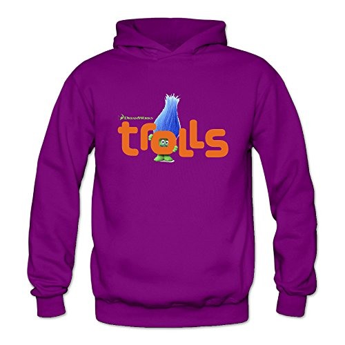 Trolls Head Movie Women's Long Sleeve Hoodieds Purple US Size -