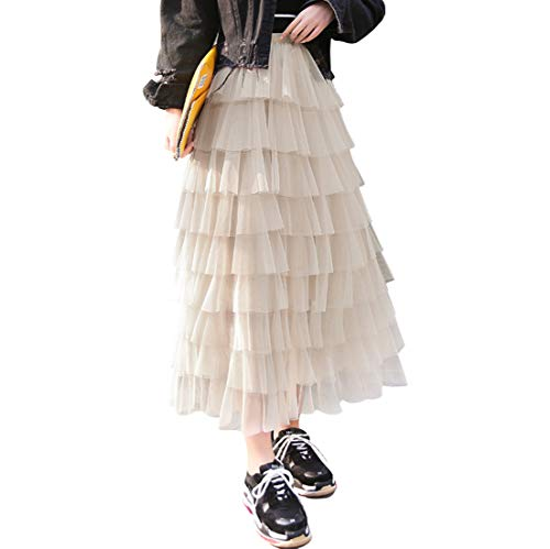 (Itemnew Women's Sweet Elastic Waist Tulle Layered Ruffles Mesh Long Tiered Skirt (One Size,)