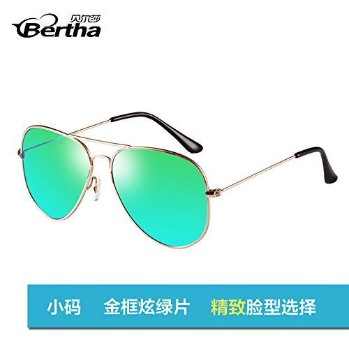 box sol hombres Polaroid sol femenina golden de Trumpet star Gafas Polaroid Golden Framed Green gafas blue de sol moda aviador de de sol Gafas polarizadas gafas gafas de estándar pionero KOMNY EwB6qq
