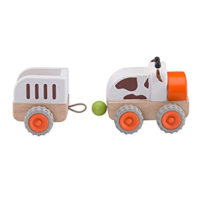 Wonderworld Moo Moo Tractor, Toddler Moo Cow Wooden Push Pull Tractor with Trailer: Toys & Games