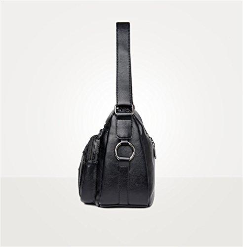 Cuir Souple Bandoulière À Black en Sac Unique Uxq84ASS