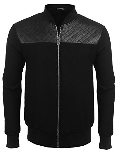 Modfine Mens Full Zip Up Leather Baseball Bomber Jacket Flight Patchwork Stand Collar Outdoor Coat,Black B2,Large