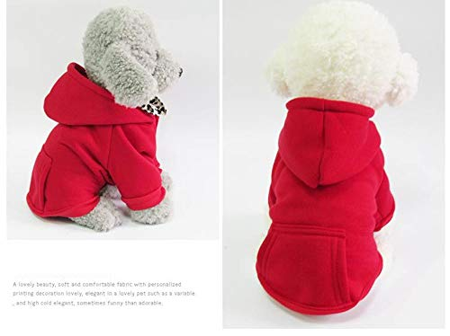 fogohill Small Medium Dogs&Cats Pet Fleece Dog Hoodies Warm Cotton Jacket Fashion Sweatshirt Coat with Pocket Red X-Small