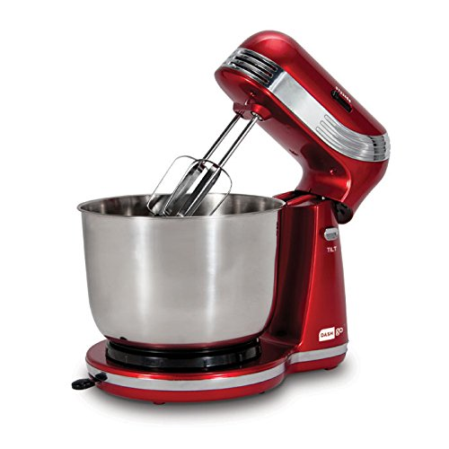 Red and silver electric mixer with a stainless steel bowl.