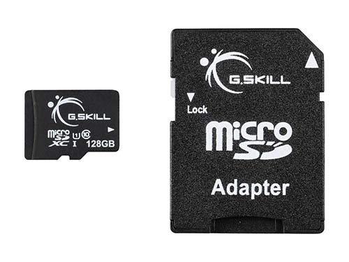 G.Skill 128GB microSDXC UHS-I/U1 Class 10 Memory Card with Adapter (FF-TSDXC128GA-U1A)