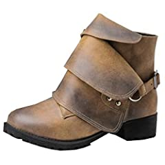 Women's Stylish Studded Pull On Low Chunky Heel Martin Ankle Boots