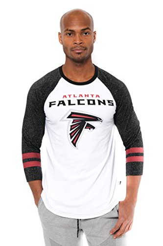 NFL Men's Atlanta Falcons T-Shirt Raglan Baseball 3/4 Long Sleeve Tee Shirt, X-Large, White Falcon Jersey