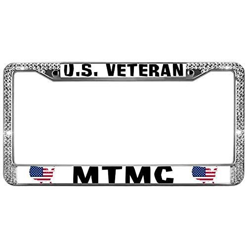 paipaidiedie US Veteran Mtmc Bling Glitter License Plate Frame Durable Metal License Plate Frame Holder Sparkle Glitter Rhinestone License Plate Frame 12
