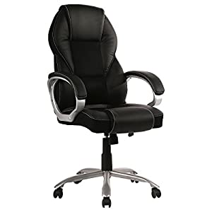 Home Office Chair Desk Ergonomic Computer Executive Modern Tall Student Task Adjustable Swivel High Back Wide Comfortable Leather Metal Stool with Arms Lumbar Support, Black
