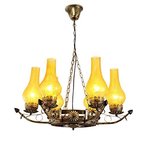 Windsor Home Deco, WH-62500, Retro Industrial Pendant Lamp, 6 Lights Chandelier, Glass Pendant Lamp, Pendant Lighting, Pendant Lights Fixture, Bulb Included