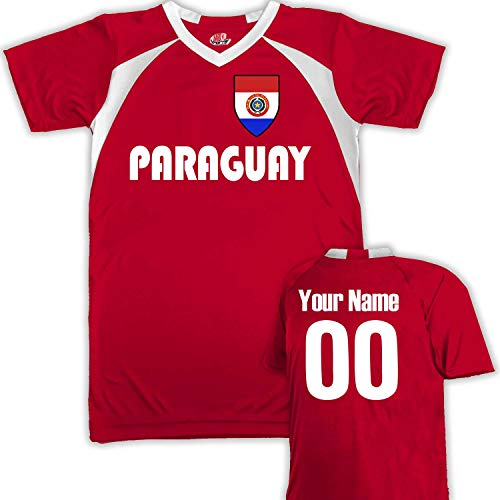(Customized Paraguay Soccer Jersey Youth Medium in Scarlet Red and White)