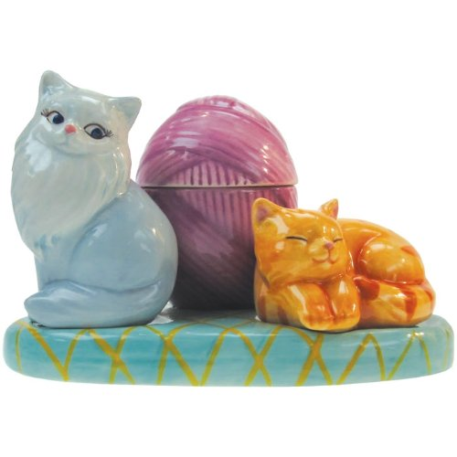 Westland Giftware Mwah Cats Magnetic Ceramic Salt and Pepper Shaker with Toothpick Holder Set, 3.25-Inch