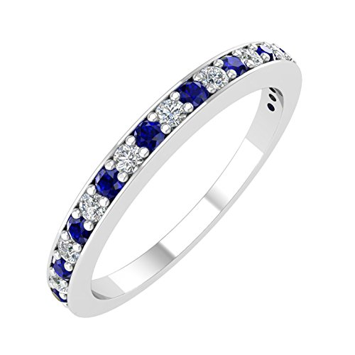 14k White Gold Wedding Band with Diamond & Blue Sapphire Color Stone (1/4 Carat) - IGI Certified