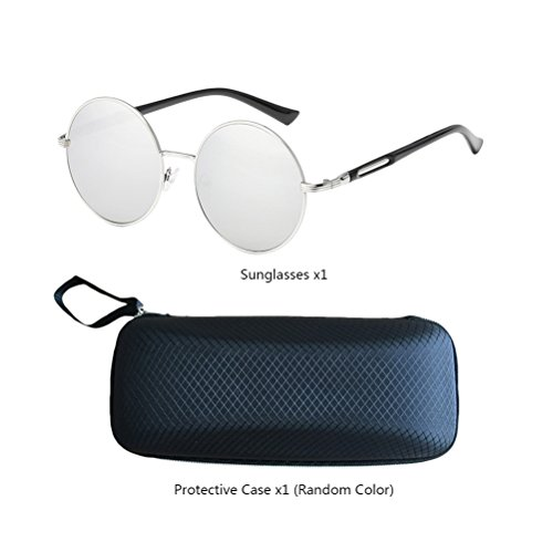 Con Mens Polarized Fashionable Womens estuche de gafas Zhuhaitf Gold amp;white Round for Frames Oversized Unisex Design Mirror Sunglasses qHxf61zw
